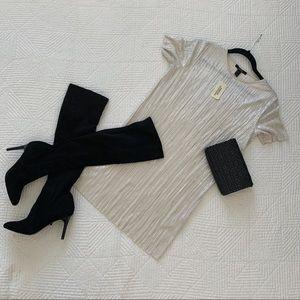 Forever 21 Pleated Metallic Shift Mini Dress